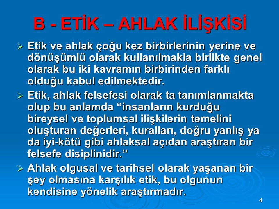 15 H - KAMU GÖREVLİLERİ ETİK KURULU (KGEK)  2004 tarih ve 5176 SAYILI KANUN ile Başbakanlık bünyesinde kurulan Kamu Görevlileri Etik Kurulu , Türk kamu yönetimi açısından etik altyapısının önemli bir kurumsal unsurunu oluşturmaktadır.