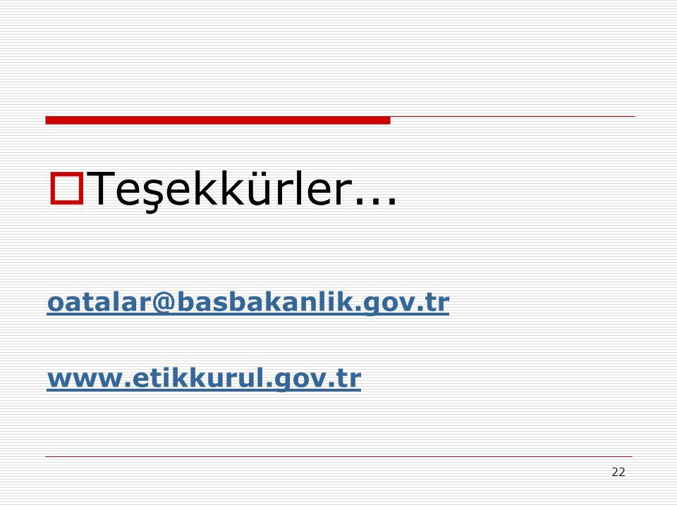 22  Teşekkürler... oatalar@basbakanlik.gov.tr www.etikkurul.gov.tr