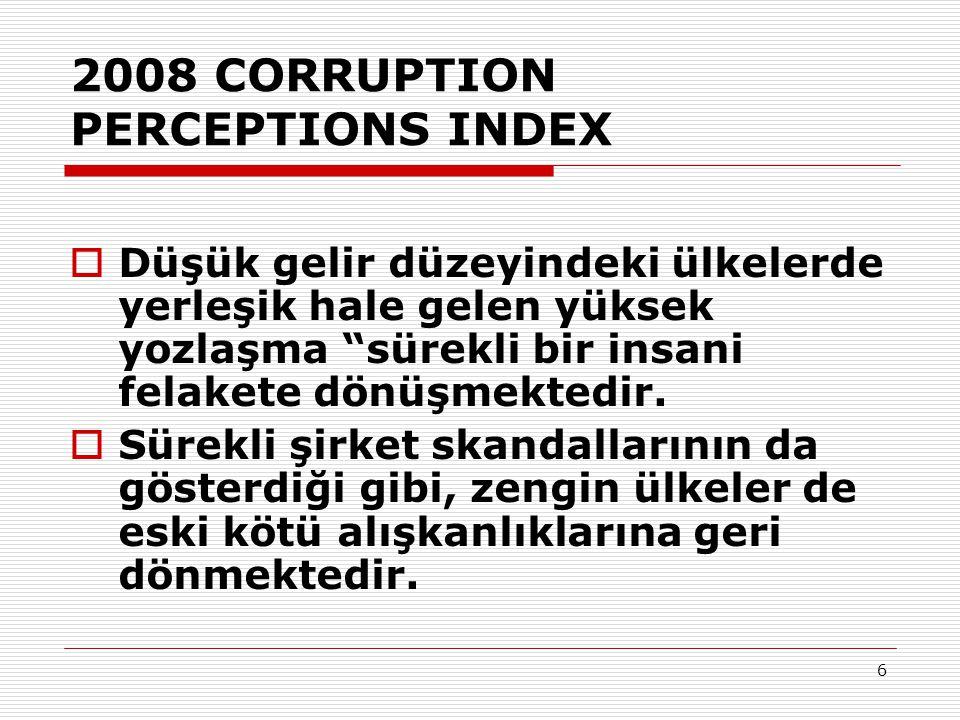 6 2008 CORRUPTION PERCEPTIONS INDEX  Düşük gelir düzeyindeki ülkelerde yerleşik hale gelen yüksek yozlaşma sürekli bir insani felakete dönüşmektedir.