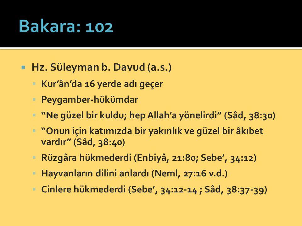 """ Hz. Süleyman b. Davud (a.s.)  Kur'ân'da 16 yerde adı geçer  Peygamber-hükümdar  """"Ne güzel bir kuldu; hep Allah'a yönelirdi"""" (Sâd, 38:30)  """"Onun"""