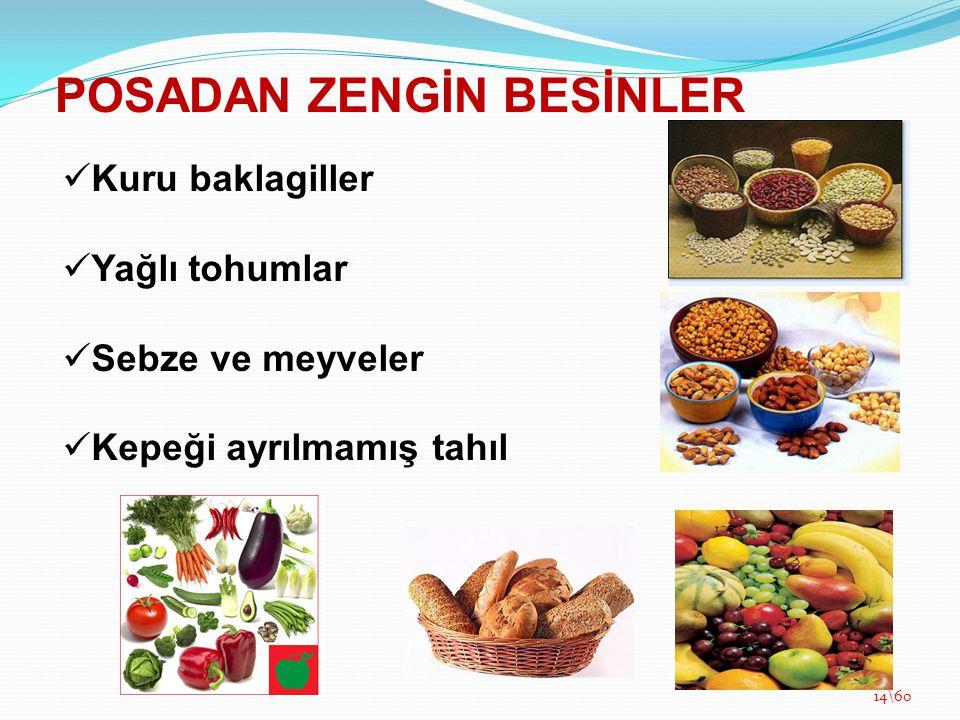 POSADAN ZENGİN BESİNLER Kuru baklagiller Yağlı tohumlar Sebze ve meyveler Kepeği ayrılmamış tahıl 14\60