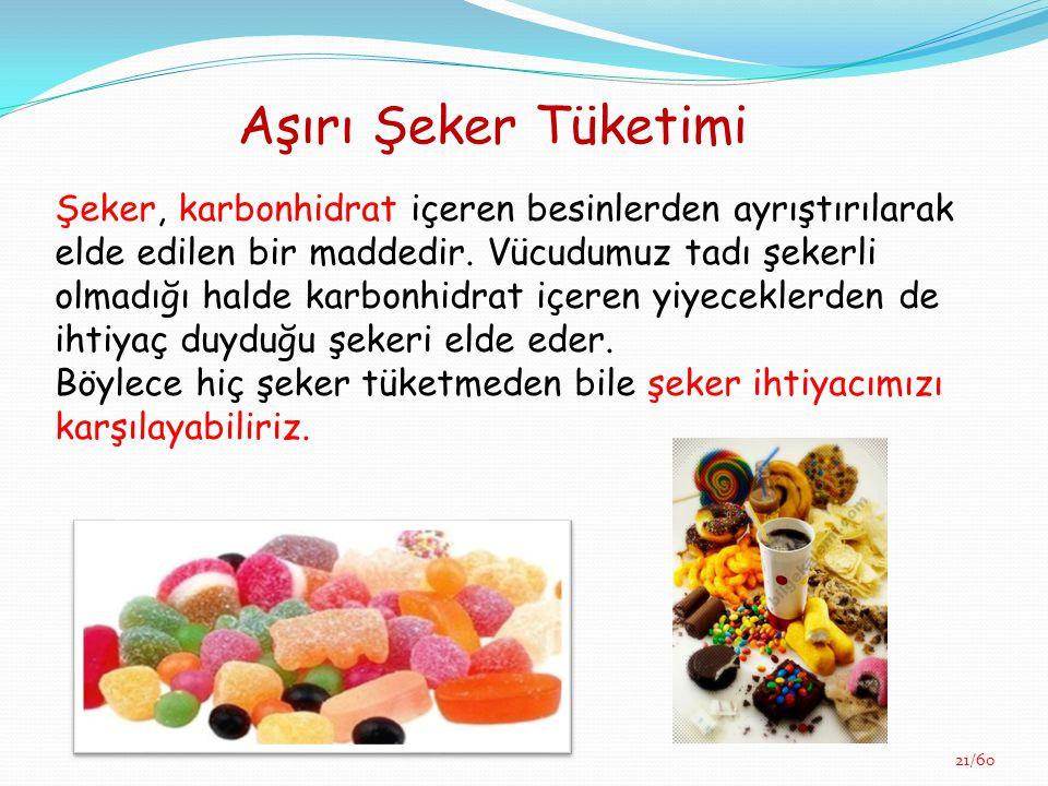 Aşırı Şeker Tüketimi Şeker, karbonhidrat içeren besinlerden ayrıştırılarak elde edilen bir maddedir. Vücudumuz tadı şekerli olmadığı halde karbonhidra
