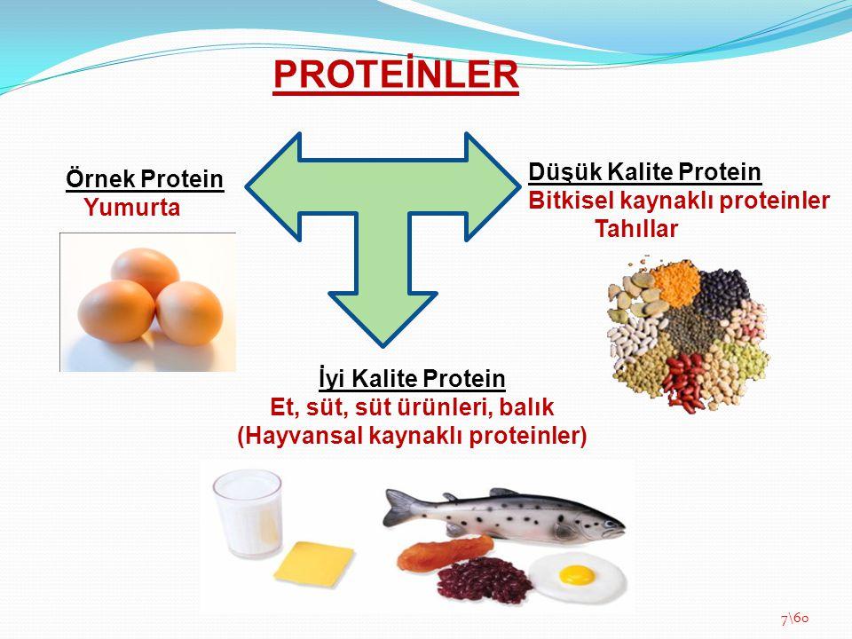 PROTEİNLER Örnek Protein Yumurta İyi Kalite Protein Et, süt, süt ürünleri, balık (Hayvansal kaynaklı proteinler) Düşük Kalite Protein Bitkisel kaynakl