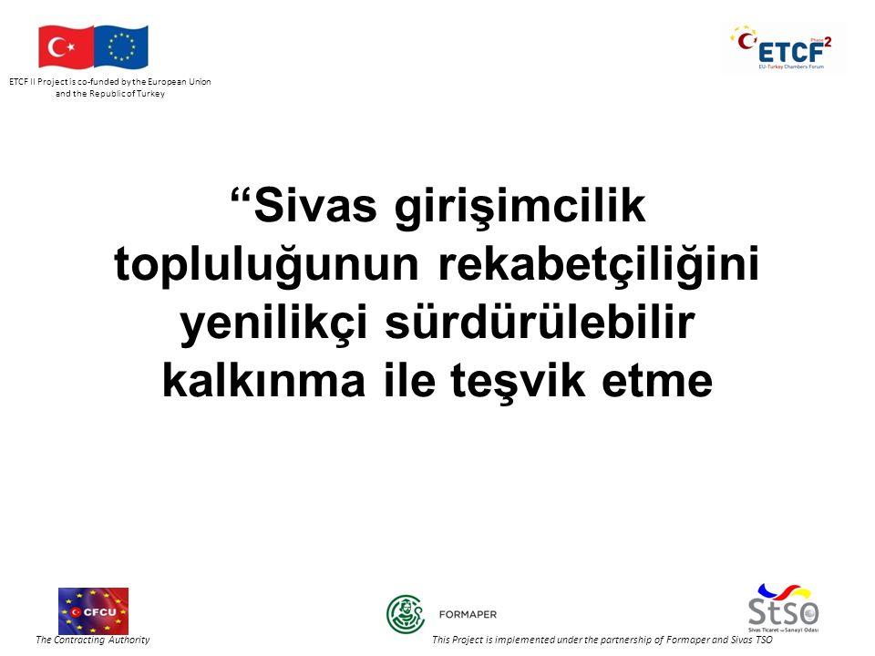 ETCF II Project is co-funded by the European Union and the Republic of Turkey The Contracting Authority This Project is implemented under the partnership of Formaper and Sivas TSO İTALYA'DAKİ TEŞEBBÜSLER Çalışan Sayısına Göre Büyüklük Teşebbüsler %Çalışan Doluluk % 1 – 9 (Mikro-teşebbüs)94,8 %46,4 % 10 – 49 (Küçük-teşebbüs)4,6 %20,9 % 50 – 249 (Orta-teşebbüs)0,5 %12,6 % 250 üzeri (Büyük-teşebbüs)0,08 %20,1 % Mikro teşebbüsler : 10 kişiden az çalışanı olan; Küçük teşebbüsler : 50 kişiden az çalışanı olan ve ya yıllık cirosu 7 milyon EURO'yu aşmayan ya da yıllık bilanço toplamı 5 milyon EURO'yu aşmayan; Orta büyüklükteki teşebbüsler : 250 kişiden az çalışanı olan ve ya yıllık cirosu 40 milyon EURO'yu aşmayan ya da yıllık bilanço toplamı 27 milyon EURO'yu aşmayan;