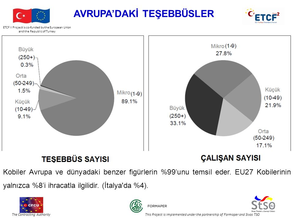 ETCF II Project is co-funded by the European Union and the Republic of Turkey The Contracting Authority This Project is implemented under the partnership of Formaper and Sivas TSO AVRUPA'DAKİ TEŞEBBÜSLER Kobiler Avrupa ve dünyadaki benzer figürlerin %99'unu temsil eder.