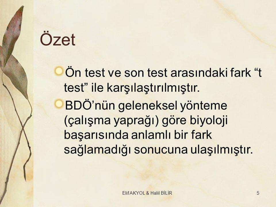 """Özet Ön test ve son test arasındaki fark """"t test"""" ile karşılaştırılmıştır. BDÖ'nün geleneksel yönteme (çalışma yaprağı) göre biyoloji başarısında anla"""