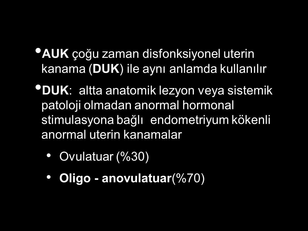 AUK çoğu zaman disfonksiyonel uterin kanama (DUK) ile aynı anlamda kullanılır DUK: altta anatomik lezyon veya sistemik patoloji olmadan anormal hormonal stimulasyona bağlı endometriyum kökenli anormal uterin kanamalar Ovulatuar (%30) Oligo - anovulatuar(%70)