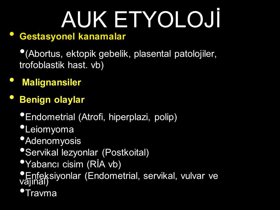 Gestasyonel kanamalar (Abortus, ektopik gebelik, plasental patolojiler, trofoblastik hast. vb) Malignansiler Benign olaylar Endometrial (Atrofi, hiper