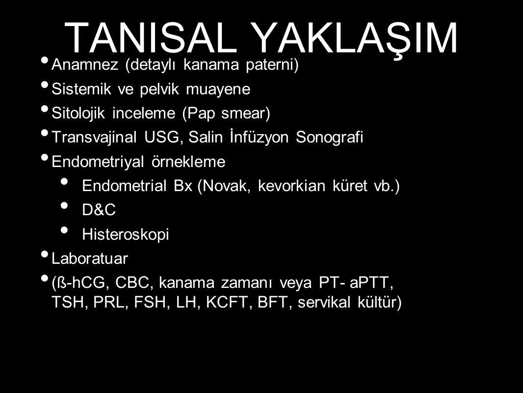 TANISAL YAKLAŞIM Anamnez (detaylı kanama paterni) Sistemik ve pelvik muayene Sitolojik inceleme (Pap smear) Transvajinal USG, Salin İnfüzyon Sonografi Endometriyal örnekleme Endometrial Bx (Novak, kevorkian küret vb.) D&C Histeroskopi Laboratuar (ß-hCG, CBC, kanama zamanı veya PT- aPTT, TSH, PRL, FSH, LH, KCFT, BFT, servikal kültür)