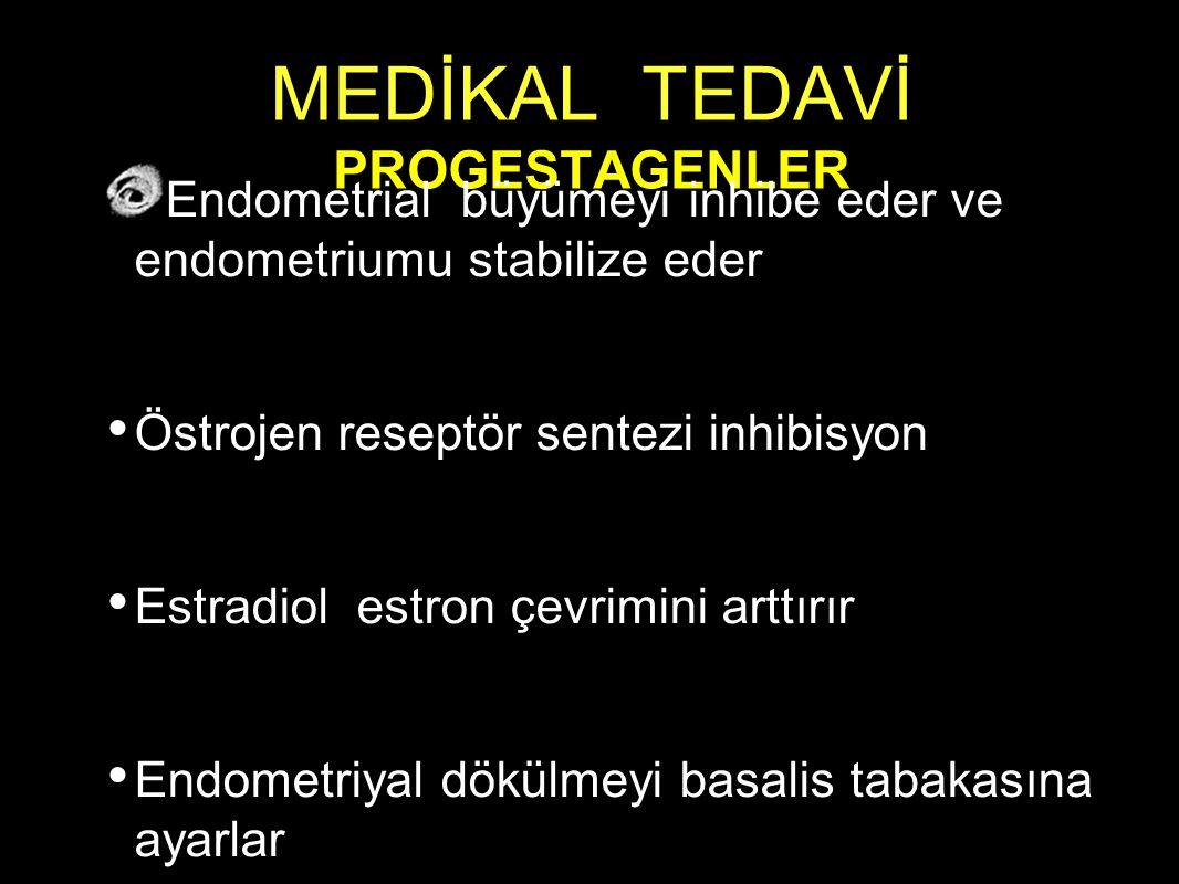 MEDİKAL TEDAVİ PROGESTAGENLER Endometrial büyümeyi inhibe eder ve endometriumu stabilize eder Östrojen reseptör sentezi inhibisyon Estradiol estron çevrimini arttırır Endometriyal dökülmeyi basalis tabakasına ayarlar
