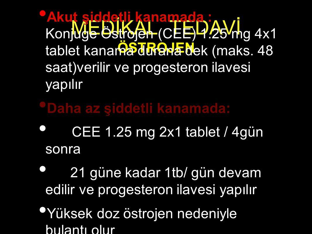 MEDİKAL TEDAVİ ÖSTROJEN Akut şiddetli kanamada : Konjuge Östrojen (CEE) 1.25 mg 4x1 tablet kanama durana dek (maks. 48 saat)verilir ve progesteron ila