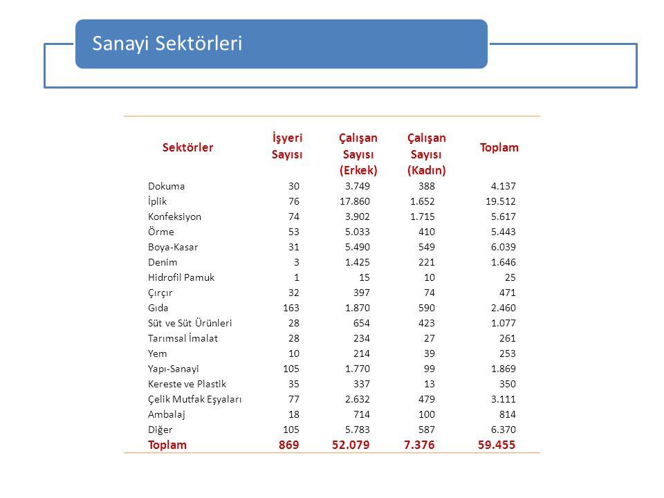 Sanayi Sektörleri Sektörler Toplam İşyeriÇalışan Sayısı (Erkek)(Kadın) Dokuma303.7493884.137 İplik7617.8601.65219.512 Konfeksiyon743.9021.7155.617 Örm