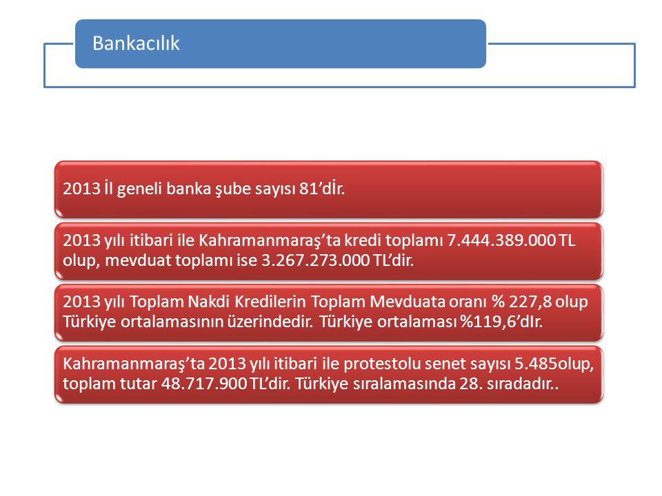 2013 İl geneli banka şube sayısı 81'dİr. 2013 yılı itibari ile Kahramanmaraş'ta kredi toplamı 7.444.389.000 TL olup, mevduat toplamı ise 3.267.273.000