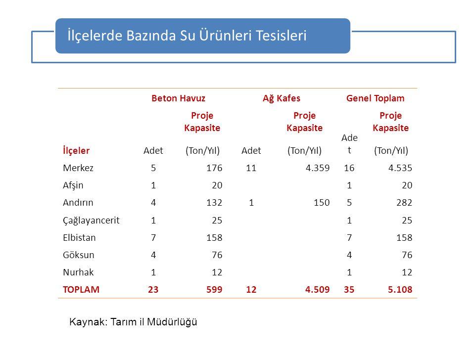 İlçeler Beton HavuzAğ KafesGenel Toplam Adet Proje Kapasite Adet Proje Kapasite Ade t Proje Kapasite (Ton/Yıl) Merkez5176114.359164.535 Afşin120 1 And