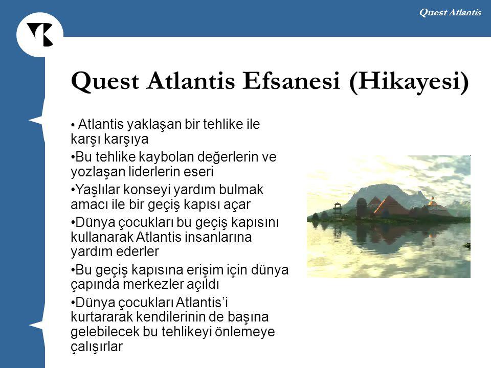 Quest Atlantis QA Sanal Dünyaları ve Yapıları Avatar temsili Gerçek zamanlı etkileşim Ekoloji dünyası, kültür dünyası, birlik dünyası, sağlık dünyası, okyanus dünyası,...