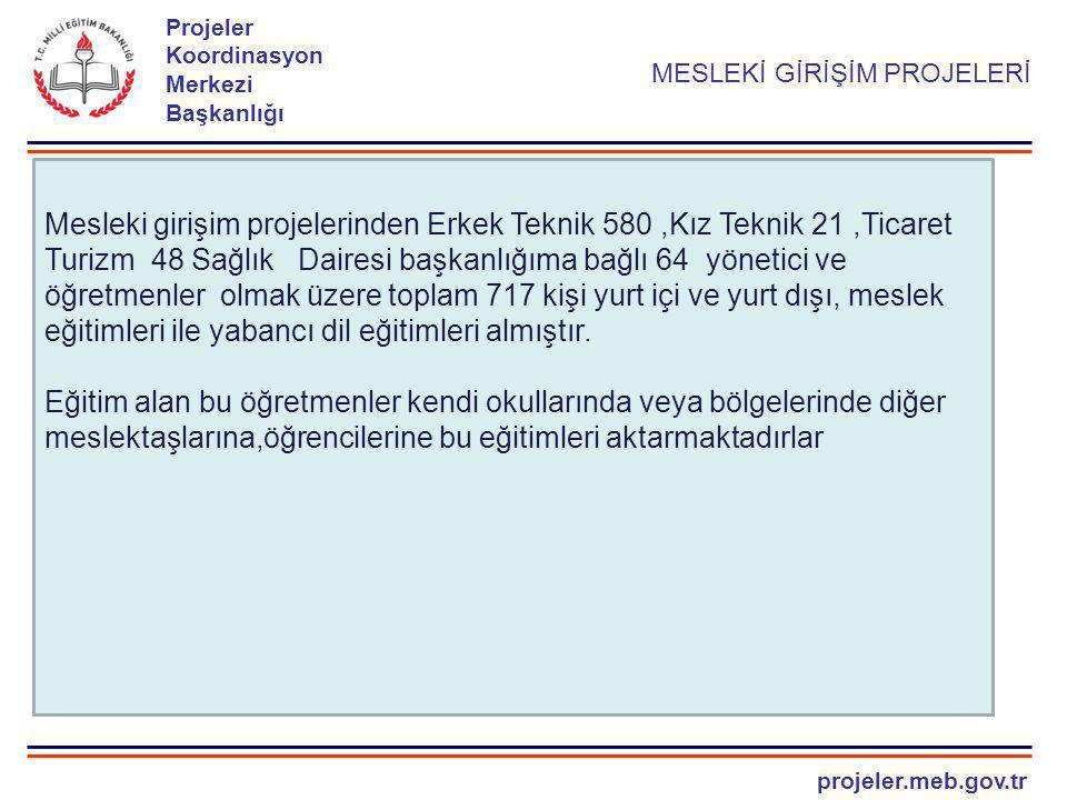 projeler.meb.gov.tr Projeler Koordinasyon Merkezi Başkanlığı MESLEKİ GİRİŞİM PROJELERİ Mesleki girişim projelerinden Erkek Teknik 580,Kız Teknik 21,Ti