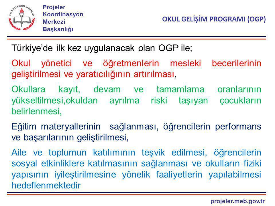 projeler.meb.gov.tr Projeler Koordinasyon Merkezi Başkanlığı OKUL GELİŞİM PROGRAMI (OGP) Türkiye'de ilk kez uygulanacak olan OGP ile; Okul yönetici ve