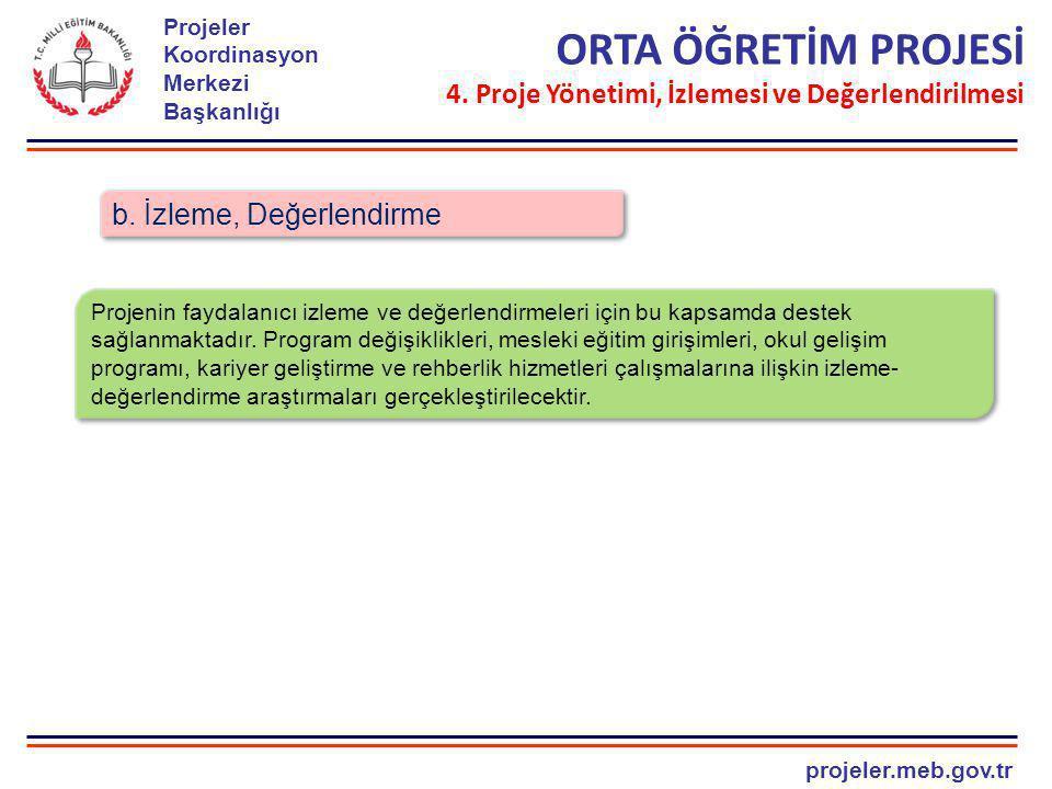projeler.meb.gov.tr Projeler Koordinasyon Merkezi Başkanlığı b. İzleme, Değerlendirme ORTA ÖĞRETİM PROJESİ 4. Proje Yönetimi, İzlemesi ve Değerlendiri