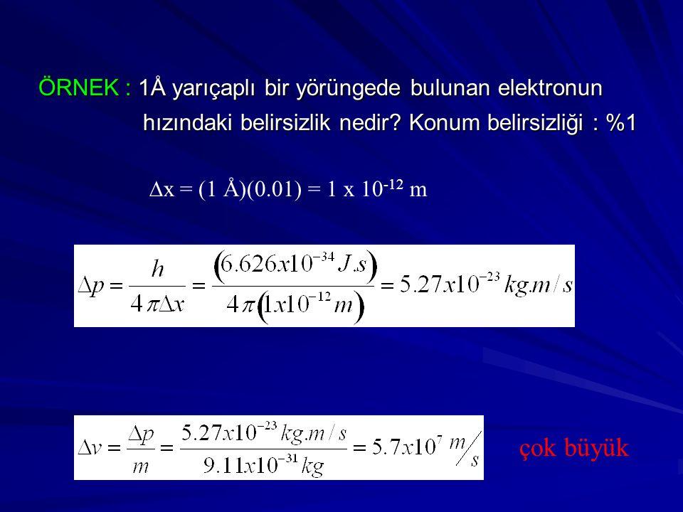 ÖRNEK : 1Å yarıçaplı bir yörüngede bulunan elektronun ÖRNEK : 1Å yarıçaplı bir yörüngede bulunan elektronun hızındaki belirsizlik nedir? Konum belirsi