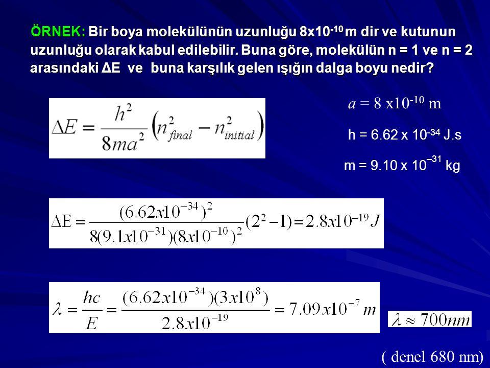 ÖRNEK: Bir boya molekülünün uzunluğu 8x10 -10 m dir ve kutunun uzunluğu olarak kabul edilebilir. Buna göre, molekülün n = 1 ve n = 2 arasındaki ΔE ve