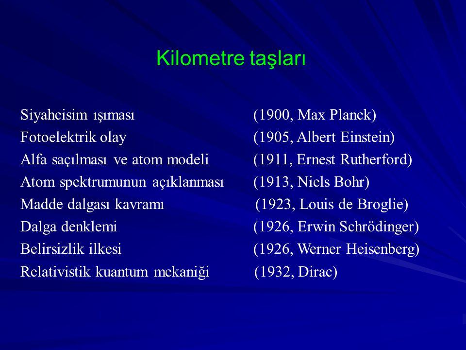 Siyahcisim ışıması(1900, Max Planck) Fotoelektrik olay(1905, Albert Einstein) Alfa saçılması ve atom modeli(1911, Ernest Rutherford) Atom spektrumunun