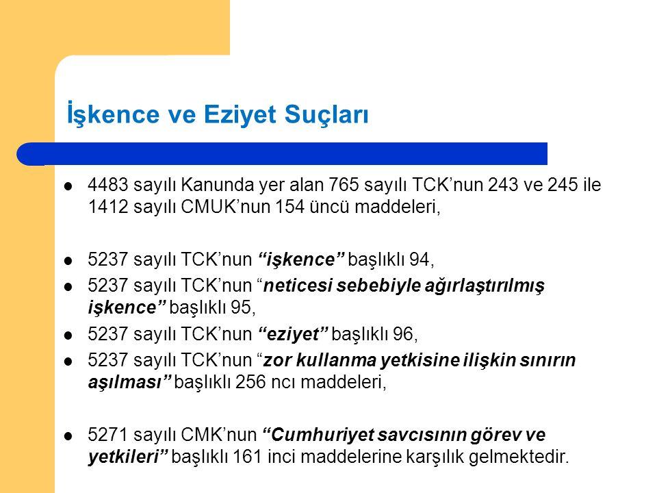 İşkence ve Eziyet Suçları 4483 sayılı Kanunda yer alan 765 sayılı TCK'nun 243 ve 245 ile 1412 sayılı CMUK'nun 154 üncü maddeleri, 5237 sayılı TCK'nun
