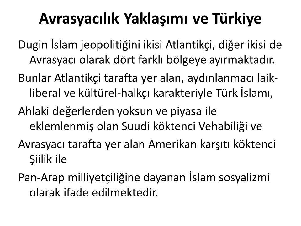 Avrasyacılık Yaklaşımı ve Türkiye Dugin İslam jeopolitiğini ikisi Atlantikçi, diğer ikisi de Avrasyacı olarak dört farklı bölgeye ayırmaktadır. Bunlar