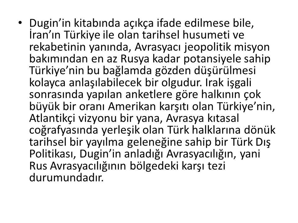 Dugin'in kitabında açıkça ifade edilmese bile, İran'ın Türkiye ile olan tarihsel husumeti ve rekabetinin yanında, Avrasyacı jeopolitik misyon bakımınd