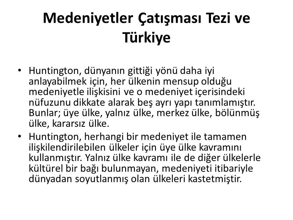 Medeniyetler Çatışması Tezi ve Türkiye Huntington, dünyanın gittiği yönü daha iyi anlayabilmek için, her ülkenin mensup olduğu medeniyetle ilişkisini