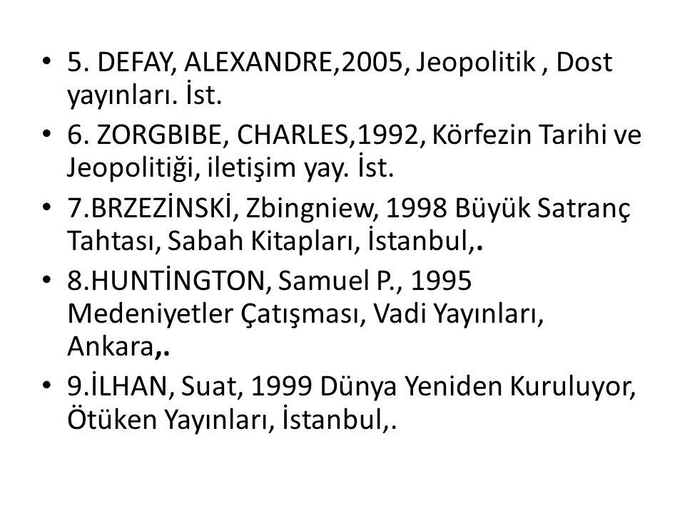 5. DEFAY, ALEXANDRE,2005, Jeopolitik, Dost yayınları. İst. 6. ZORGBIBE, CHARLES,1992, Körfezin Tarihi ve Jeopolitiği, iletişim yay. İst. 7.BRZEZİNSKİ,