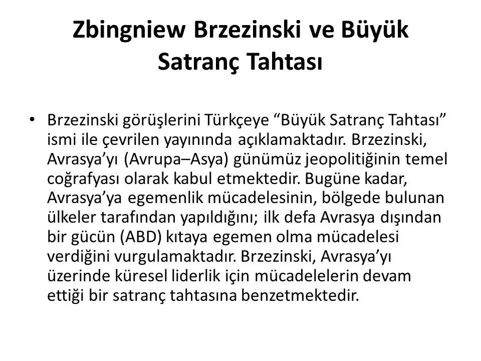 """Zbingniew Brzezinski ve Büyük Satranç Tahtası Brzezinski görüşlerini Türkçeye """"Büyük Satranç Tahtası"""" ismi ile çevrilen yayınında açıklamaktadır. Brze"""
