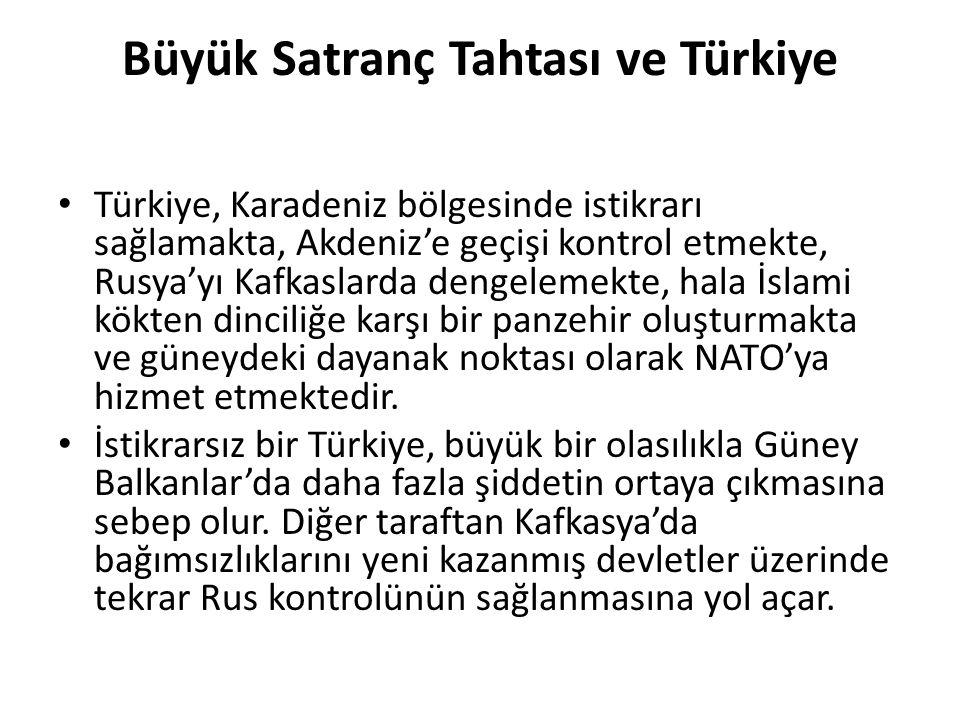 Büyük Satranç Tahtası ve Türkiye Türkiye, Karadeniz bölgesinde istikrarı sağlamakta, Akdeniz'e geçişi kontrol etmekte, Rusya'yı Kafkaslarda dengelemek