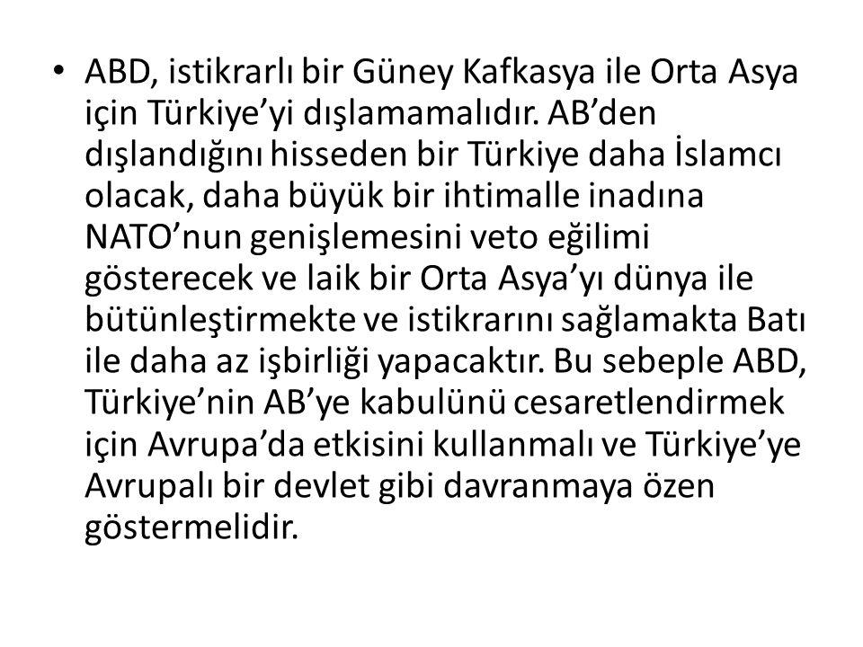ABD, istikrarlı bir Güney Kafkasya ile Orta Asya için Türkiye'yi dışlamamalıdır. AB'den dışlandığını hisseden bir Türkiye daha İslamcı olacak, daha bü