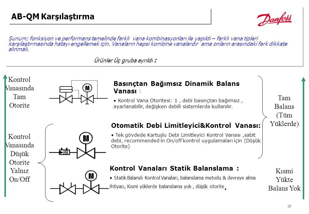 13 Sunum; fonksiyon ve performans temelinde farklı vana kombinasyonları ile yapıldı – farklı vana tipleri karşılaştırmasında hatayı engellemek için. V