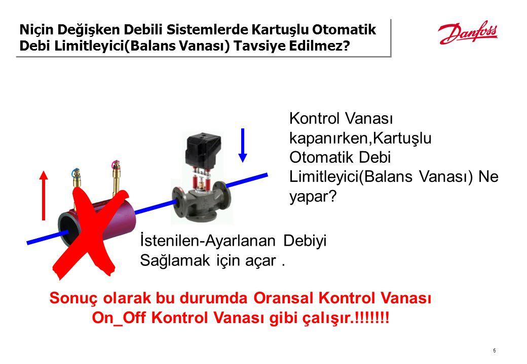 7 3 bar 0.2 bar 100% Stroke = 22 m3/h AQ DN50 2.5 bar VF2 DN50 (kvs 40) 0.30 bar 3 bar Q(m3/h) 2.5 6 Dp (bar) 22 kvs 100% 40 0.36 100% Stroke Energy % Flow Niçin Oransal Kontrol ile Otomatik Debi Limitleyici(Balans Vanası) Kullanılmaz?
