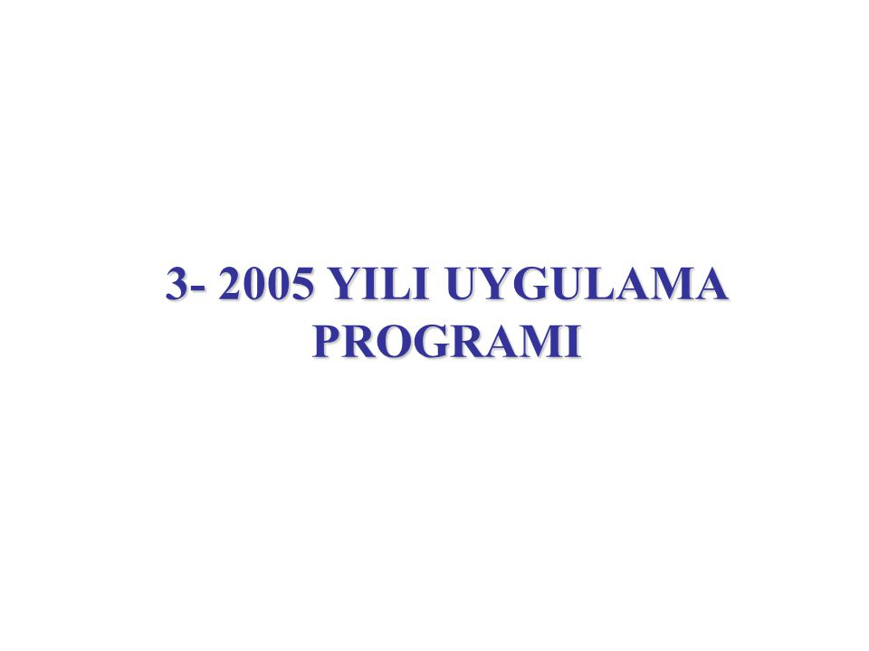 3- 2005 YILI UYGULAMA PROGRAMI