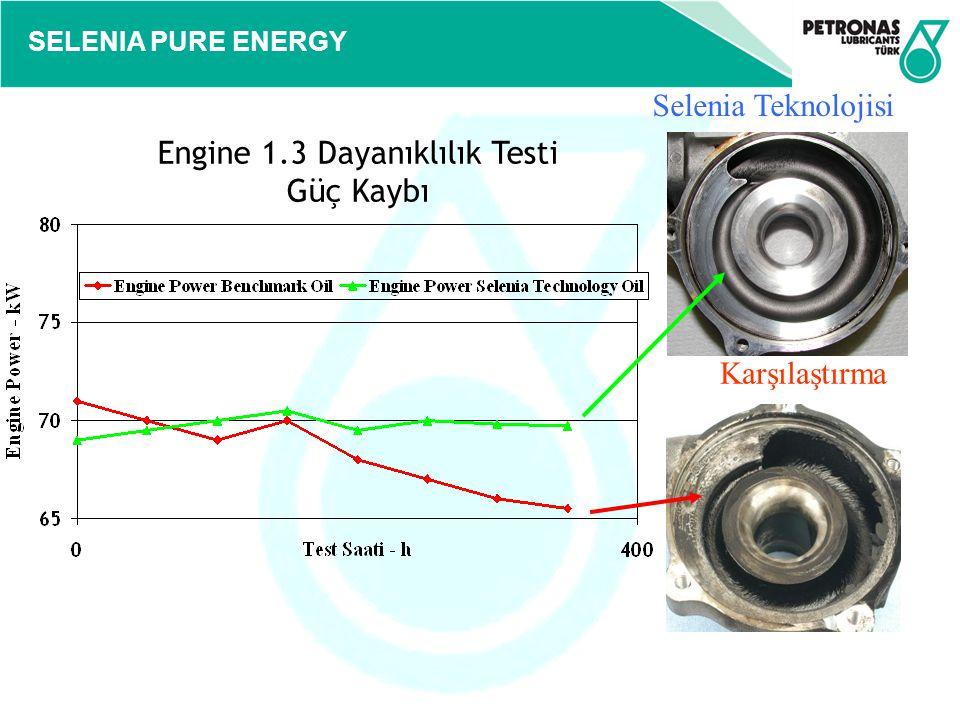 SELENIA PURE ENERGY Karşılaştırma Selenia Teknolojisi Engine 1.3 Dayanıklılık Testi Güç Kaybı