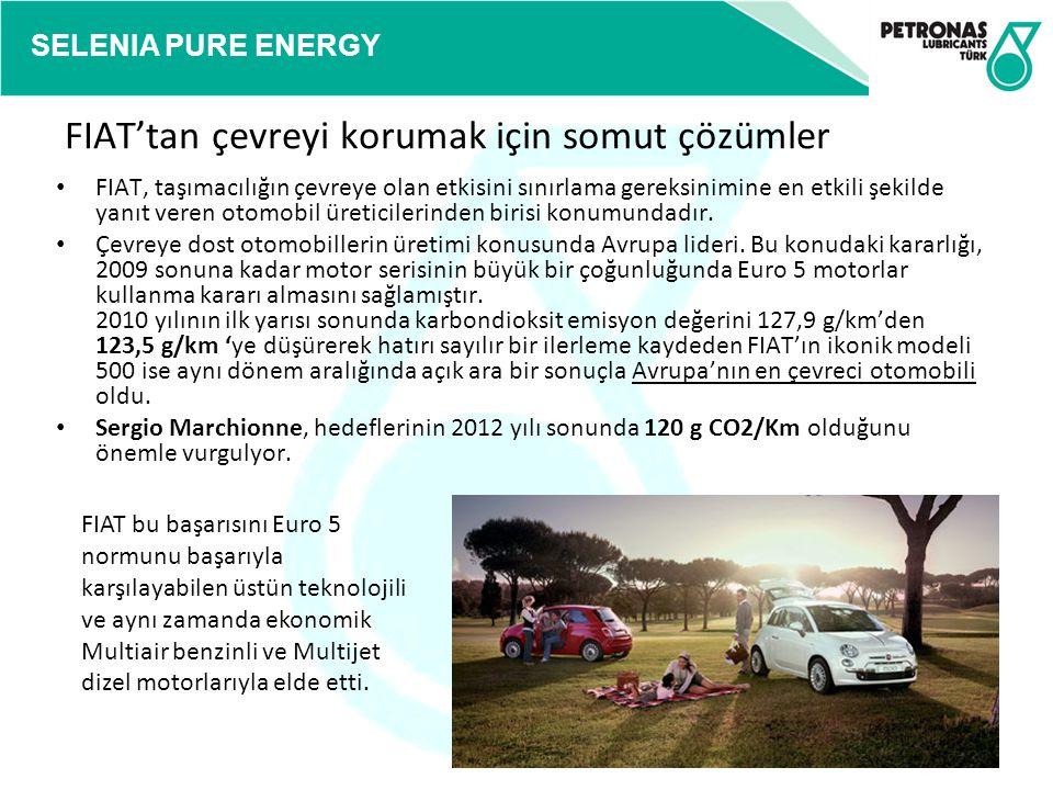 SELENIA PURE ENERGY FIAT'tan çevreyi korumak için somut çözümler FIAT, taşımacılığın çevreye olan etkisini sınırlama gereksinimine en etkili şekilde y