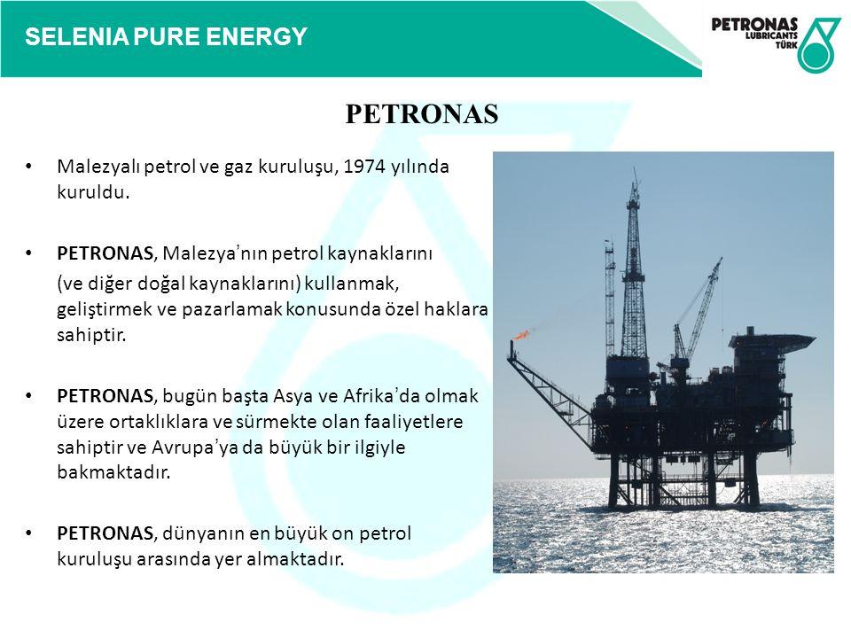 SELENIA PURE ENERGY Malezyalı petrol ve gaz kuruluşu, 1974 yılında kuruldu. PETRONAS, Malezya ' nın petrol kaynaklarını (ve diğer doğal kaynaklarını)