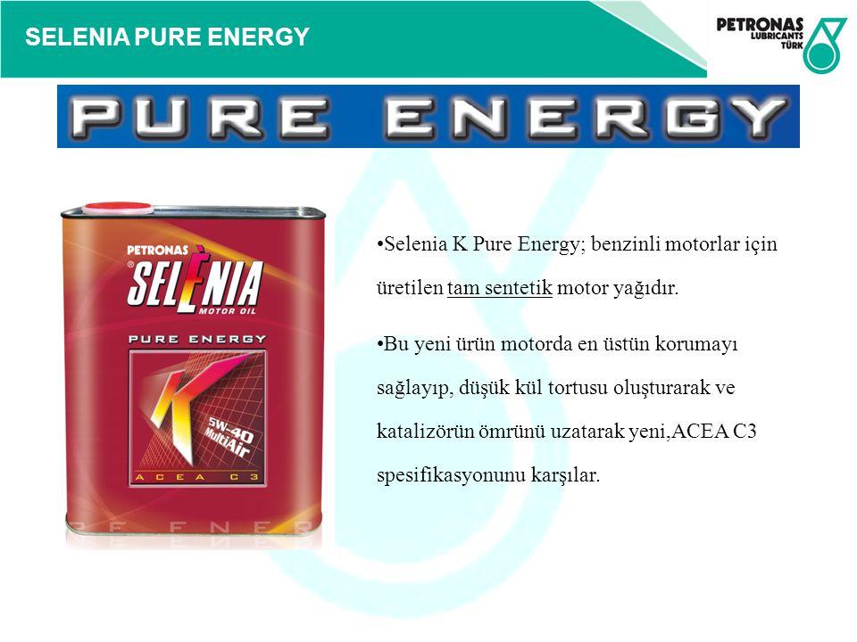 SELENIA PURE ENERGY Selenia K Pure Energy; benzinli motorlar için üretilen tam sentetik motor yağıdır. Bu yeni ürün motorda en üstün korumayı sağlayıp