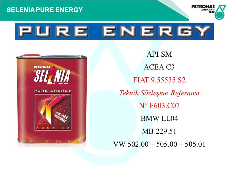 SELENIA PURE ENERGY API SM ACEA C3 FIAT 9.55535 S2 Teknik Sözleşme Referansı N° F603.C07 BMW LL04 MB 229.51 VW 502.00 – 505.00 – 505.01