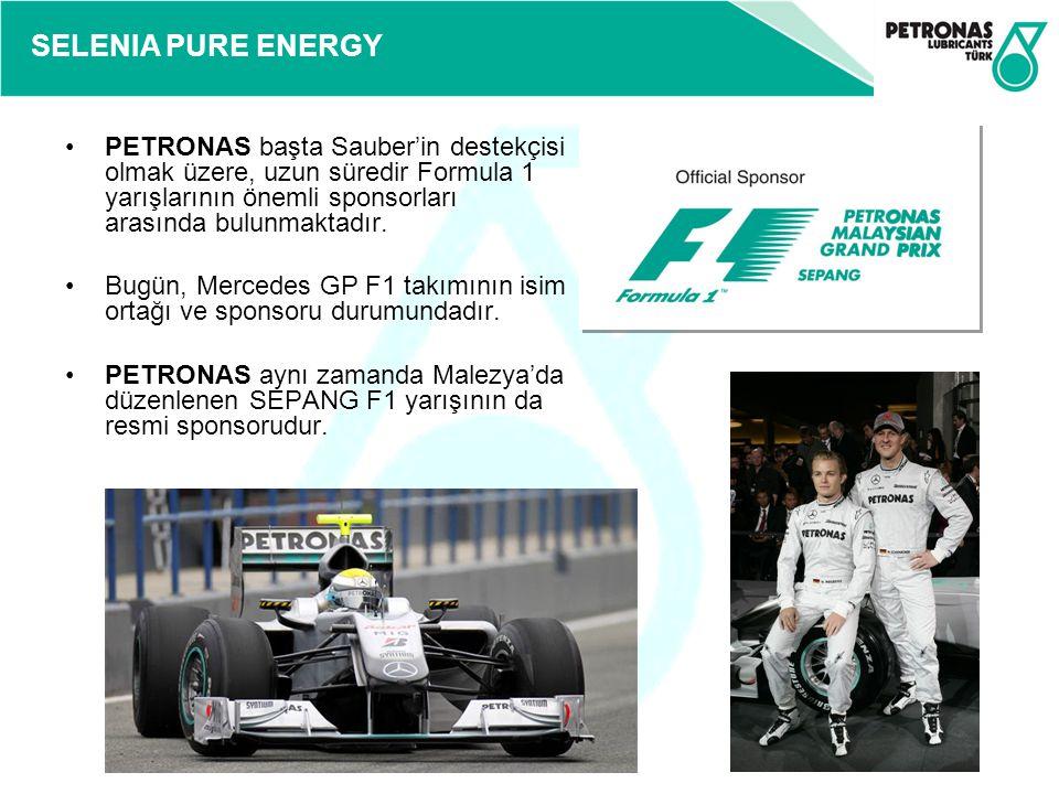 SELENIA PURE ENERGY PETRONAS başta Sauber'in destekçisi olmak üzere, uzun süredir Formula 1 yarışlarının önemli sponsorları arasında bulunmaktadır. Bu