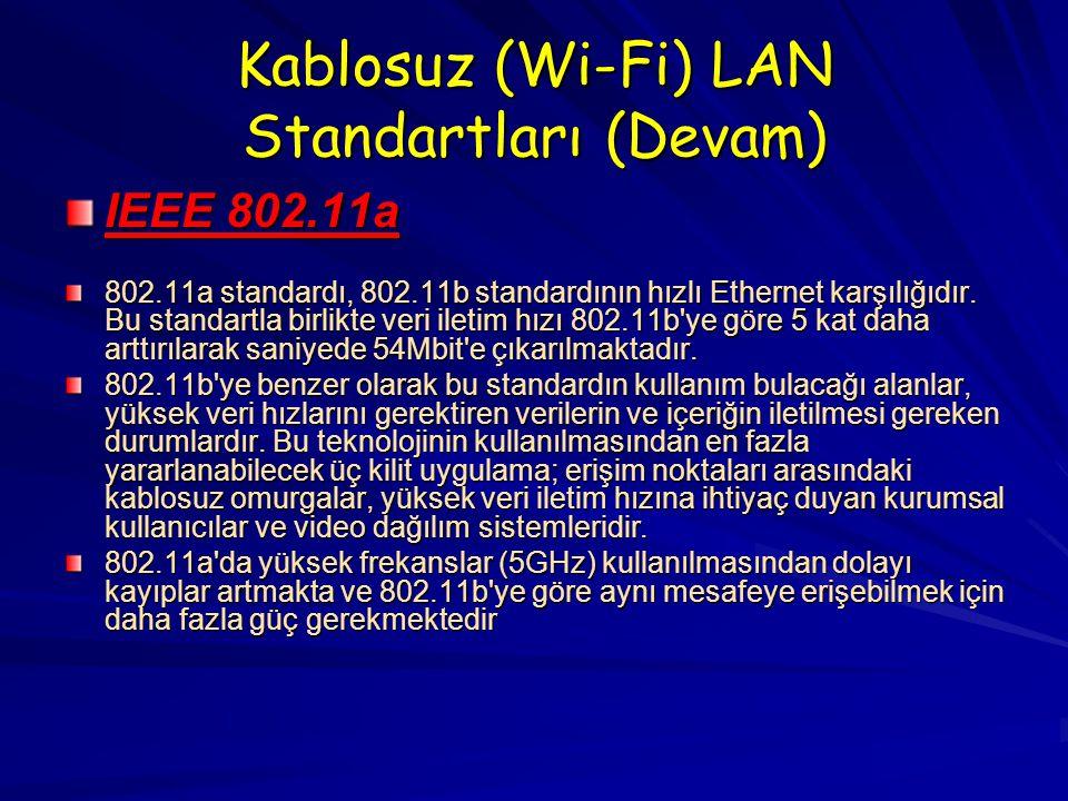 Kablosuz (Wi-Fi) LAN Standartları (Devam) IEEE 802.11a 802.11a standardı, 802.11b standardının hızlı Ethernet karşılığıdır.