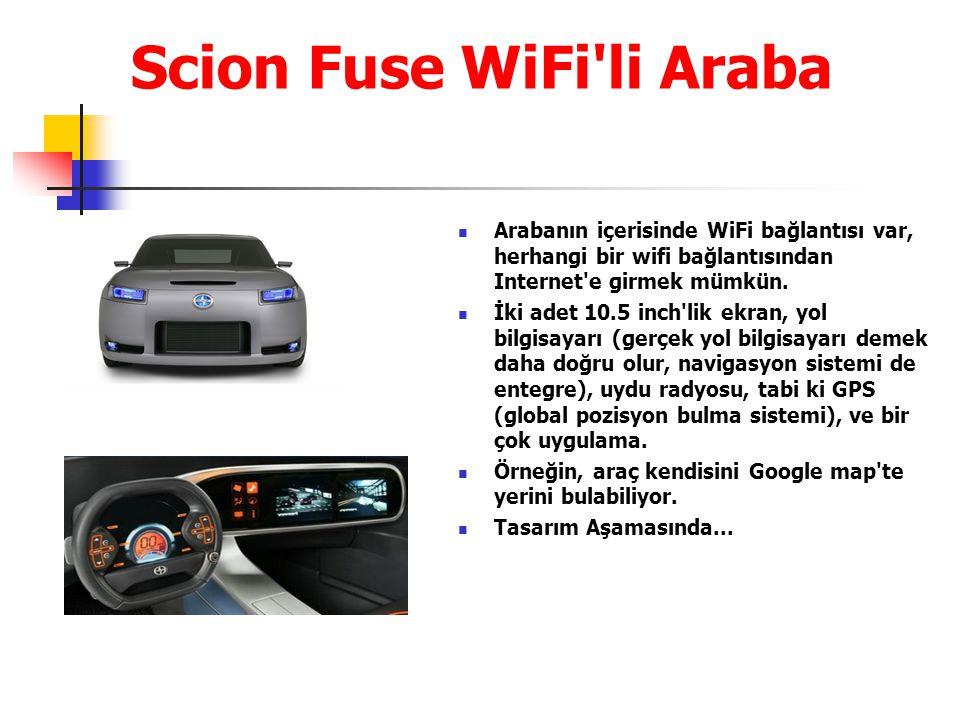 Scion Fuse WiFi li Araba Arabanın içerisinde WiFi bağlantısı var, herhangi bir wifi bağlantısından Internet e girmek mümkün.