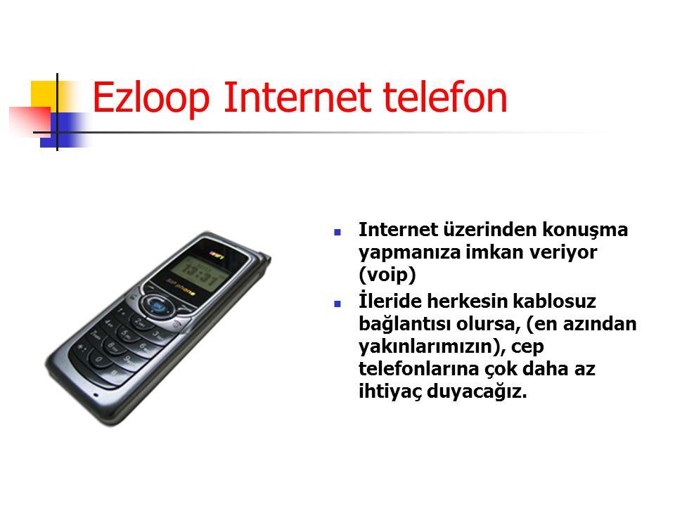 Ezloop Internet telefon Internet üzerinden konuşma yapmanıza imkan veriyor (voip) İleride herkesin kablosuz bağlantısı olursa, (en azından yakınlarımızın), cep telefonlarına çok daha az ihtiyaç duyacağız.