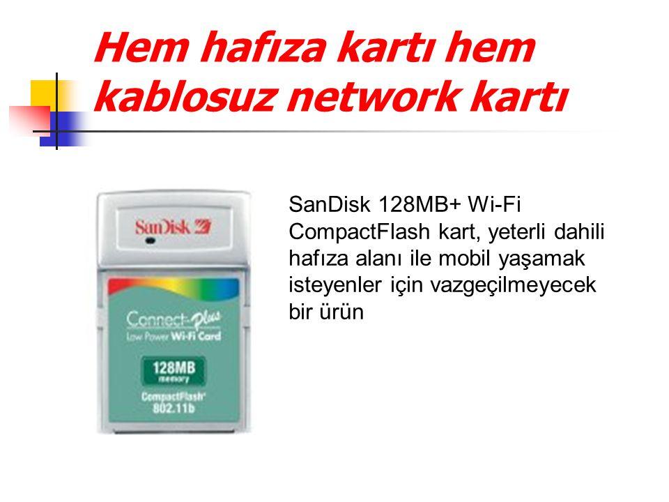 Hem hafıza kartı hem kablosuz network kartı SanDisk 128MB+ Wi-Fi CompactFlash kart, yeterli dahili hafıza alanı ile mobil yaşamak isteyenler için vazgeçilmeyecek bir ürün