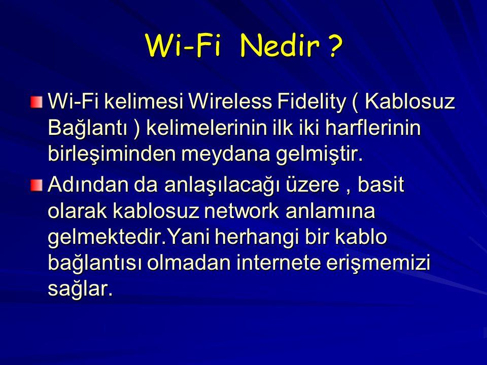 Wi-Fi kelimesi Wireless Fidelity ( Kablosuz Bağlantı ) kelimelerinin ilk iki harflerinin birleşiminden meydana gelmiştir.