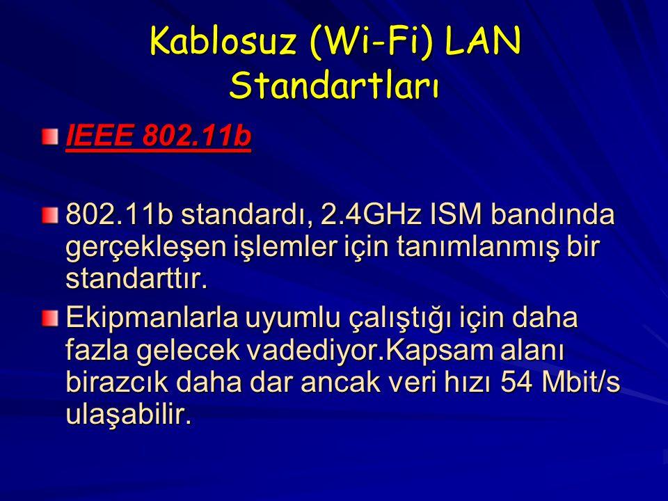 Kablosuz (Wi-Fi) LAN Standartları IEEE 802.11b 802.11b standardı, 2.4GHz ISM bandında gerçekleşen işlemler için tanımlanmış bir standarttır.