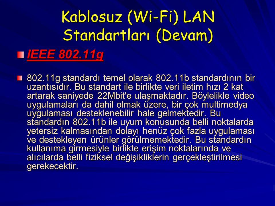 Kablosuz (Wi-Fi) LAN Standartları (Devam) IEEE 802.11g 802.11g standardı temel olarak 802.11b standardının bir uzantısıdır.