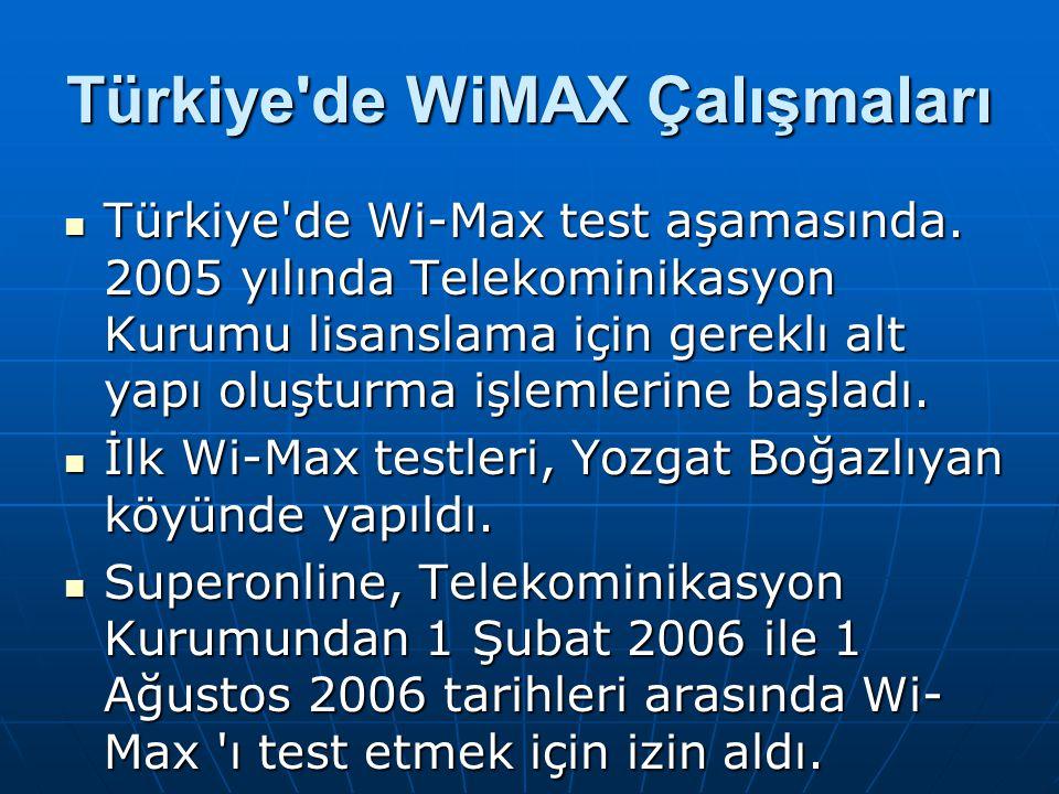 Türkiye'de WiMAX Çalışmaları Türkiye'de Wi-Max test aşamasında. 2005 yılında Telekominikasyon Kurumu lisanslama için gereklı alt yapı oluşturma işleml